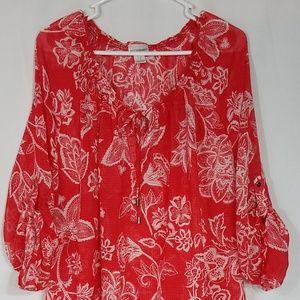 MORHERHOOD MATERNITY TOP Tunic Red Size 2X  PM47A